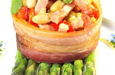 Black Bacon Baskets with Butter Beans & Asparagus